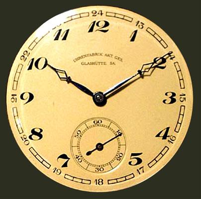1. Zifferblattsignatur der UFAG vor der Einführung G-Uhr- & Tutima Qialität