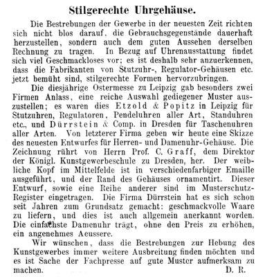 Quelle: Allgemeines Journal der Uhrmacherkunst Nr. 26 vom 01. Juli 1882 S. 204