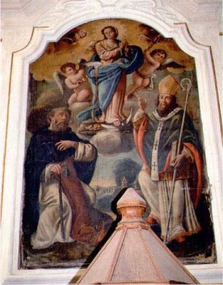 La prima pala: L'Immacolata con i Santi Antonio Abate e Agostino