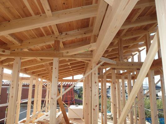屋根をのせはじめます 天井材は仕上げ材になります