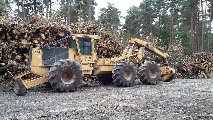 Debardage de bois énergie avec un skidder Tigercat 625C de notre partenaire TPVHS