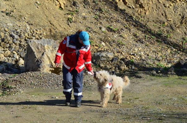 Pelle wird zum Hundeführer zurück gebracht