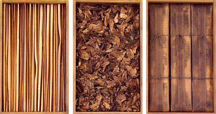 life goes on 1, Holz - Blätter - Papier, dreiteilig je 50 x 30 x 6 cm