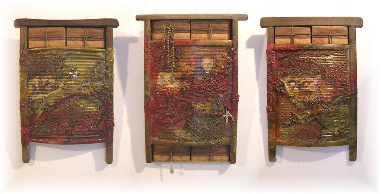 Richard Williams - Unfehlbarkeit, dreiteilig je ca. 56 x 40 cm, Waschbretter/Mischtechnik