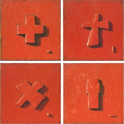 Kreuzvariationen, vierteilig je 50 x 50 x 3 cm, Öl/Mischtechnik auf Holz