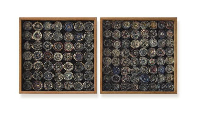 Zeitobjekt Weihnachten, zweiteilig je 30 x 30 x 6 cm, Holzkästen - Zeitung - Wachs