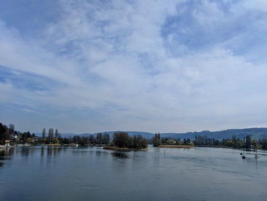 Blick auf die Insel Werd bei Stein am Rhein, wo Franziskaner Mönche wohnen