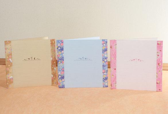 薄くて軽い ちりめんが可愛い和風アルバムシリーズ 2面 3面 6面がございます。4200円~