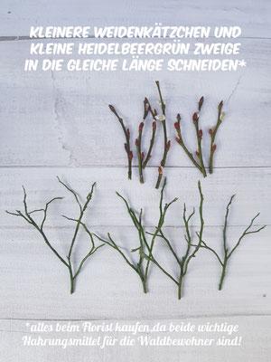 Kleinere Weidenkätchen und Heidelbeergrün Zweige in die gleiche Länge schneiden