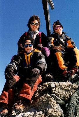 16. Oktober 1998 Allalinhorn 4027m mit meiner Familie Esther, Cyrill und Kilian