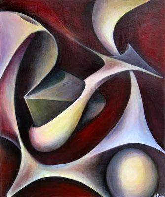 """""""Voyage tridimensionnel"""" -  Peinture acrylique - 20X20cm - 2009"""