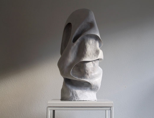 """""""Laufer"""" 50cm x 50cm x 84cm air dry clay piece on a square wooden base"""