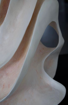 """Blossom in orange"" 50cm x 54cm x50cm polymer clay piece on a square wooden base, under a plexiglass cloche"