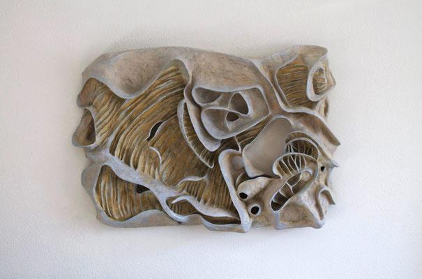 Stone garden  (100cm x 67cm x 15cm)  polymer clay wall piece