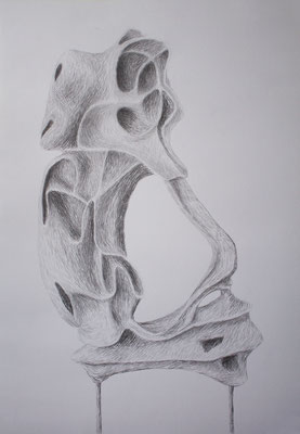 """Sculpture study """"Lend me your ear""""- drawing on paper (70 x 100cm)"""