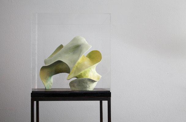 """Blossom in green"" 50cm x 54cm x50cm polymer clay piece on a square wooden base, under a plexiglass cloche"