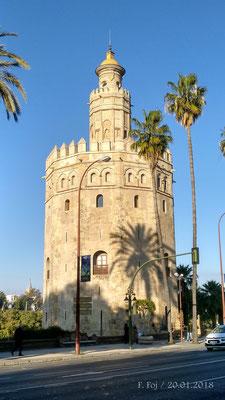 Vista de la Torre del Oro (1221). Vigilaba la margen izquierda del Guadalquivir