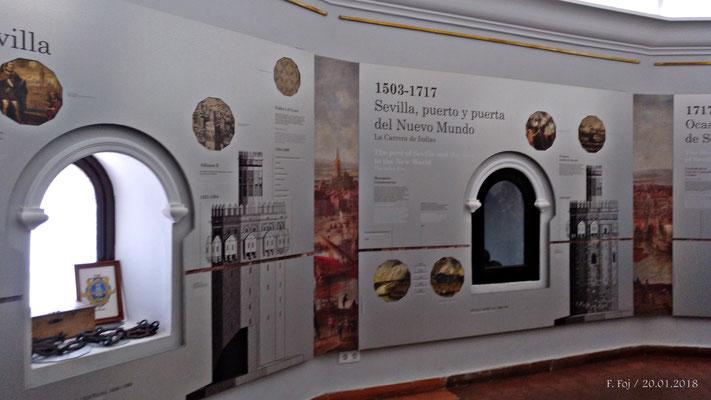 Panel explicativo del puerto de Sevilla en la carrera de Indias