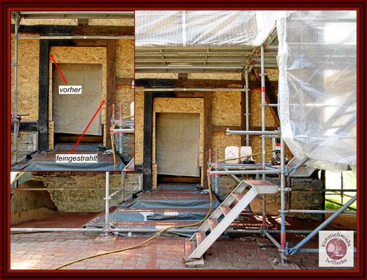 Fassade während der Reinigung mit Ansicht Vorher-Nachher