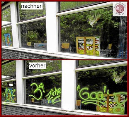 Glas und Aluminiumoberfläche stellt keine Probleme bei der Entfernug des Graffiti dar