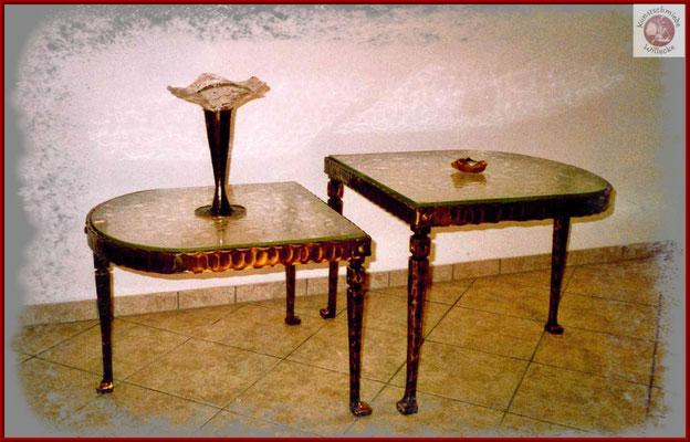 gaschmiedeter Bronzetisch mit gegossenen Glasplatten
