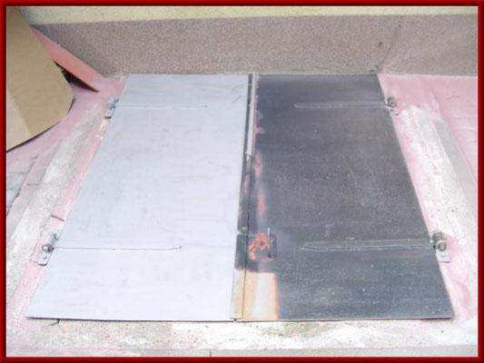 Stahlklappe vor und nach dem Strahlen