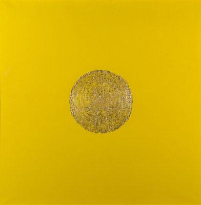 herbert oehm, o.T., 1967, blattgold auf leinwand, 80x80 cm