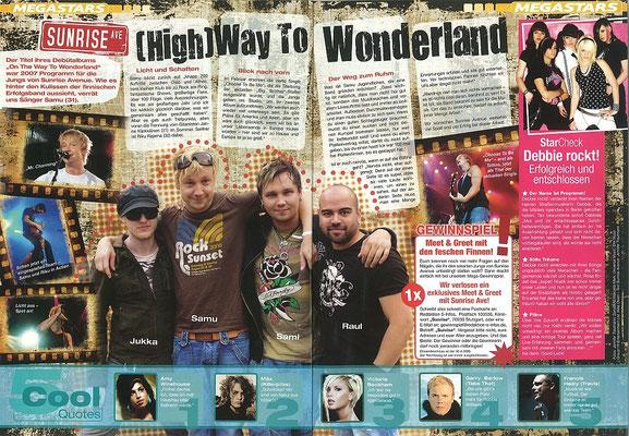Sunrise Avenue: Alle Fotos und Text. S-Infos 1/2008, Jugendmagazin der Sparkassen in Deutschland.