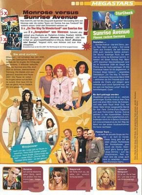 Sunrise Avenue: Foto im Innenteil von S-Infos 1/2008, Jugendmagazin der Sparkassen in Deutschland.