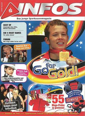 Sunrise Avenue: Foto auf Titel von S-Infos 1/2008, Jugendmagazin der Sparkassen in Deutschland.