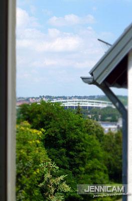 Der Blick aufs Stadion aus meiner Küche ;)