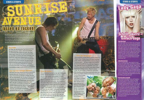 Sunrise Avenue: Fotos in einem Bericht in S-Infos 4/2009, Jugendmagazin der Sparkassen in Deutschland.