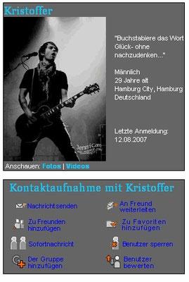 Kristoffer Hünecke/Revolverheld: Mein 1. Foto als Profilbild bei Myspace 2007