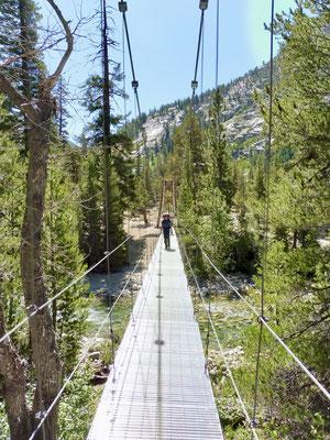 Die Suspension Bridge über den Woods Creek