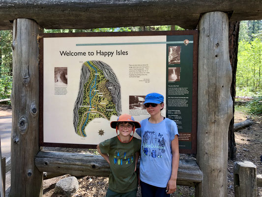 Geschafft, wir sind am Ziel in Happy Isle im Yosemite Valley angekommen