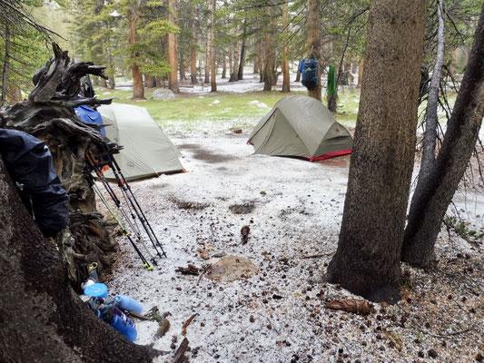 Unser Camp nach dem Sturm, wir sind trocken geblieben