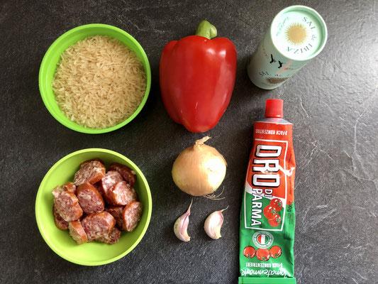 Die Zutaten für die Smoked Sausage Jambalaya