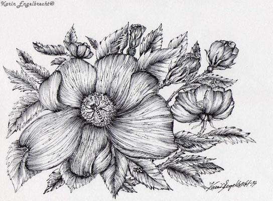 """""""Honigbiene im Blütenversteck"""" 2014 Permanentstift"""