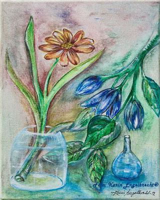 """""""Blumen und blaue Vasen"""" 2013 Acryl auf Leinwand"""