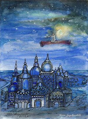 """Blaue Arabische Nacht"" Aquarell 2013-2020"