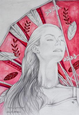 """""""Der Sommerkuss"""" 2010 Bleistift - Aquarell"""