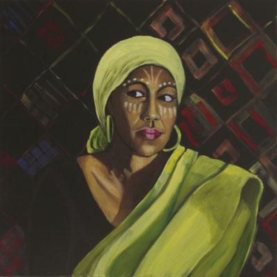 Frau mit gelbem Tuch, 2020, Öl auf Leinwand, 60 x 60 cm