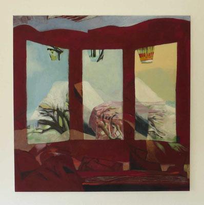 """""""Nachtkarusell"""", Eitempera auf Leinwand, 80x80 cm"""