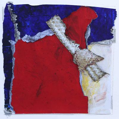Zukunft in Rot II, 2018, Collage, Mischtechnik, 14 x 14 cm
