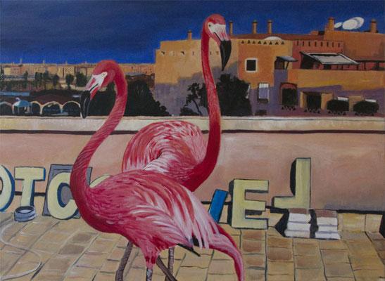Flamingos auf dem Dach, 2020, Acryl auf Leinwand, 80 x 60 cm
