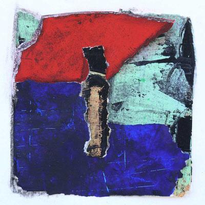 Zyklus Gegenwelten, 2019, Collage, Mischtechnik, 14 x 14 cm