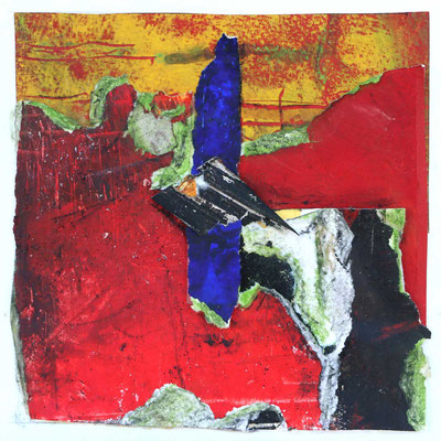 Zukunft in Rot, 2018, Collage, Mischtechnik, 14 x 14 cm