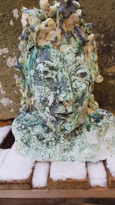 Medusa, 2019, Keramik, glasiert, 1060°,  Ö 32 x 28 x 21 cm
