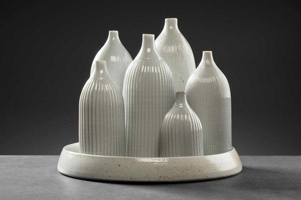 """""""Bottles"""", Porzellan, gedreht, Salzglasur, gebrannt im Holzofen bei 1300 grad"""