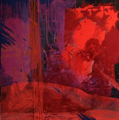 Drachenrot, 150 x150 cm, 2018, Materialmix